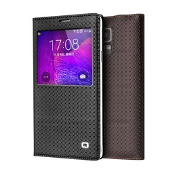 2015 QIALINO Original PC back shell case for Samsung Galaxy note 4 Genuine Leather case,fashion pattern smart sleep wake cover
