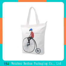 Eco friendly custom cotton bag fashion plain ziplock canvas bag