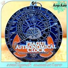 Promotional metal enamel clock keychains, clock keyring, clock keyholder.