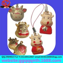 key chain telephone rope pendant metal animal Chinese zodiac cow bell OEM&ODM Manufacturers wholesale