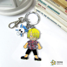 One Piece Sanji skull attached metallic color doll key chain hanging buckle