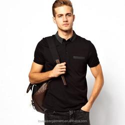2014 trendy color combination polo shirt for men