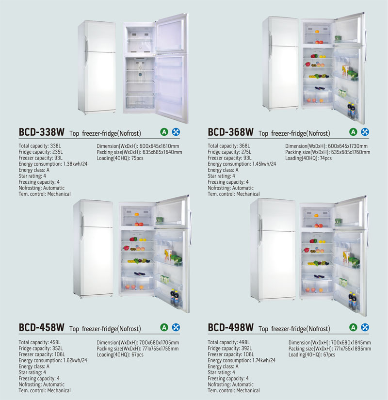 From 50liter to 450Liter Refrigerator /Fridge Freezer with CE ROHS