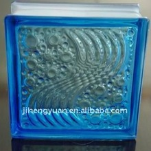 Blue sea wave glass block