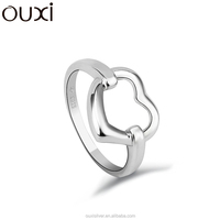 OUXI American style couple love heart 925 solid silver engagement ring Y70009
