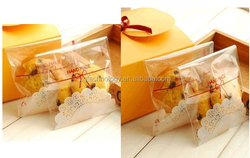 100Pcs Cake Gift Packages OPP Plastic Package Bag Lovely lace Bow Design Candy Ctue Paper Pack