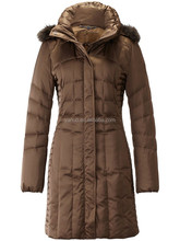 Lady's fashion winter jacket, coffe color high quality women duck down jacket, OEM service clothing factories in China