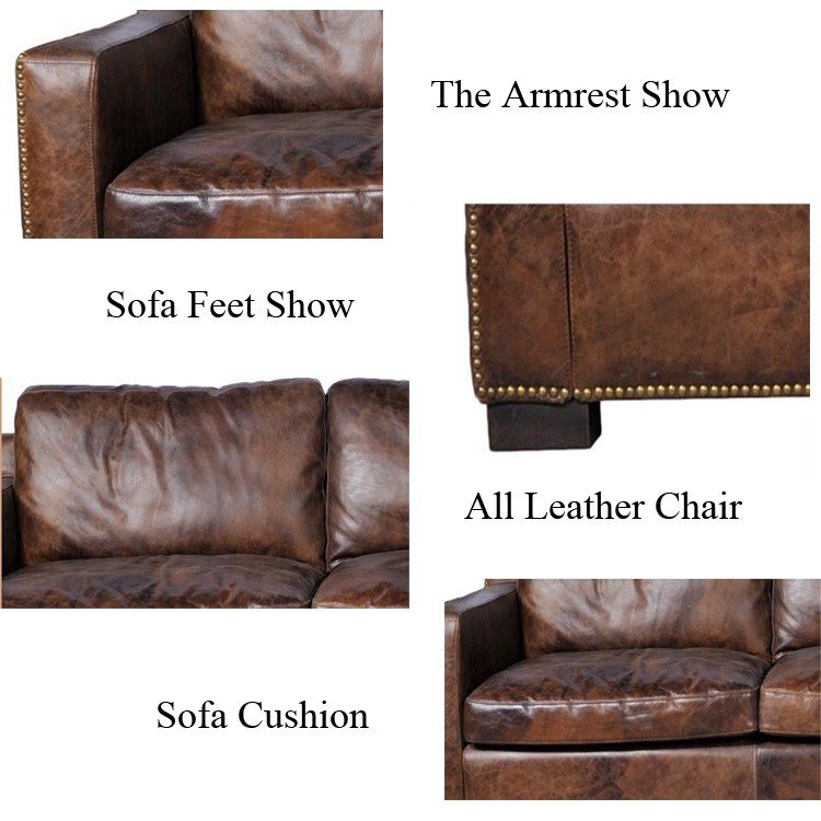 rustic sectional corner leather sofa with right arm chaise view