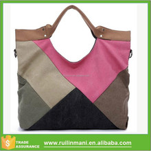 women handbags 2015 autumn female canvas big handbags brief easy matching color block patchwork travel casual handheld bag