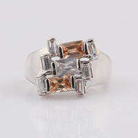 High Quality With Competitive Price Three Colorful Zircon Stone Antique Brass Ring Darry Ring