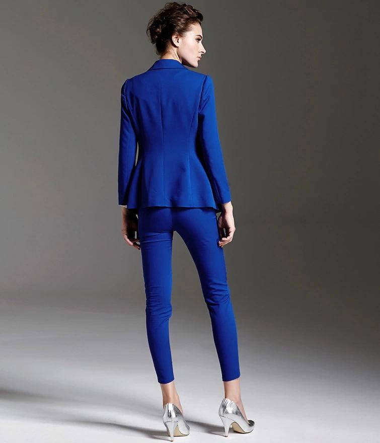 2014 neuen stil schmuck blau slim fit langarm damen anzug. Black Bedroom Furniture Sets. Home Design Ideas