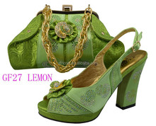 GF27 lemon in stock high quality fashion italian ladies shoes and matching bags for party