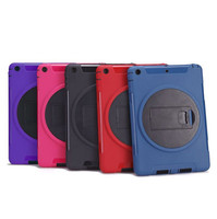 2014 New arrival with folding kickstand Heavy Duty Silicone+ PC Tablet back cover case for ipad 5 ipad air