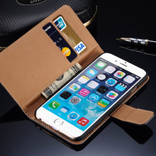 Luxury Leather Card Slot Wallet Stand Flip Cover for iPhone 4 4S / 5 5S / 6 / 6s 4.7 / Plus 5.5