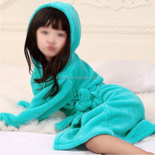 green color with belt and hooded toddlers infant bathrobes