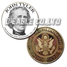 John Tyler 1841-1845 White&Black Printed Custom Challenge Coin/ Custom Coin