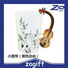 ZOGIFT Lovely Fashion Unique Cool Coffee Milk Ceramic Tea Mug Cup With Guitar Musical Note Best Gift(Black)