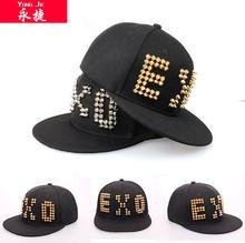 nueva marca propio logotipo personalizado del remache ala plana snapback sombreros en la venta