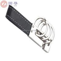 Black 3 Loops Leather Strap Keyfob Key Ring Chain Keychain Keyring Zinc Alloy