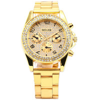 Luxury Gold Case Stainless Bling Crystal Analog Quartz Wrist Women's Dress Watch