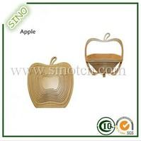 Apple Shaped Folading Basket Bamboo Fruit Basket