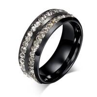 2015 Hot Classic Double Row CZ Diamond Stainless Steel Ring Titanium Ring Wedding Rings With CZ Diamond
