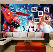 Domestic colorful wall mural wallpaper Baymax 3d home decor high quality buy customze mural