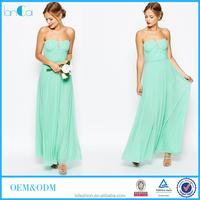 Mint green strapless shirred bodice dresses maxi chiffon wedding dress for women