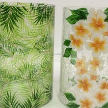 glass votive holder maple leaf crack votive candle holder decal design