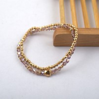 B7695-01Famous Brand Gold Plated Ball/Crystal Element Beads Heart Elastic Bracelet Two Pieces