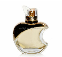 high quality apple shape polished clear empty glass perfume bottle with sprayer