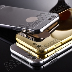 Ultra Thin Slide-on Electroplating PC Back Case + Metal Bumper for iPhone 6 6S Combo Case Mirror Effect