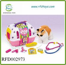 Pet set plastic toy dog house play set baby plush dog pet house