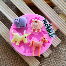 F1027 Animal of silicone molds dunky horse sheep and pig mould easy demold cake tools