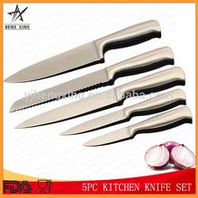 5pc mango hueco cuchillo de acero inoxidable conjunto