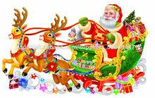 escarcha de navidad santa claus trineo de pegatinas de vidrio para la decoración de puertas Familia decorativos
