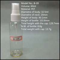 New products 60ml clear powder plastic spray bottle perfume used