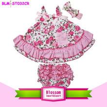 hot sale ! Adorable cotton child clothing children's Clothing sets floral swing top set