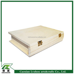 book shaped design unfinished smooth wood box for storage package
