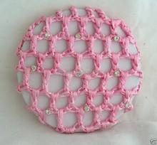 crochet hair snood bun cover hairnet Ballet Dance Skating Mesh Bun Cover with rhinestone