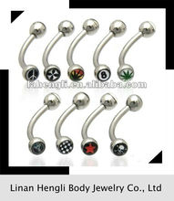 316L stainless steel Double Logo Eyebrow Ring body piercing