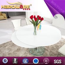 new design round glass extendable table white dining table