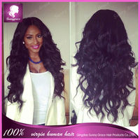 Black New arrival Natural looking 22 inch brazilian human hair body wave lace front wig bleached knotTangle Free and No Shedding