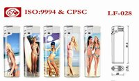 Disposable plastic lighter with Sexy lady PVC ,ISO9994 , CR and EN13869