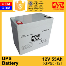 Factory direct sale sufficient capacity 55ah dry battery 12v for ups