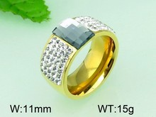 Modern men's 18k gold plated crystal zirconia 316L stainless steel ring with stone