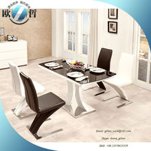 Italian design black and white dining table set 4 people dining table