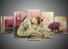 Hot sexy nude girl body oil painting on canvas