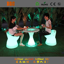 Hot ! beautiful Led glowing plastic modern coffee table, coffe chairs,