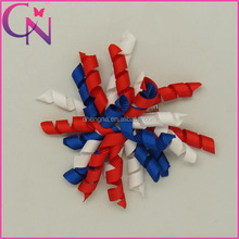 Wholesale Korker America Flag Colors Grosgrain Ribbon Hair Bow For Girls With Clip CNHB-13082811-13
